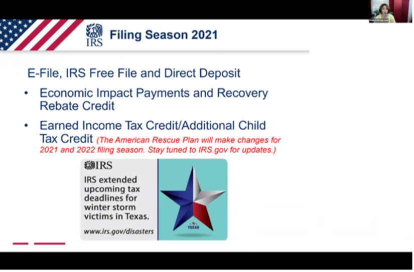 For newsletter - IRS Tax Season Info Session